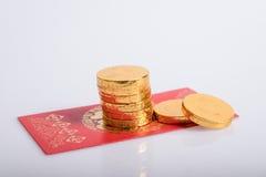 Año Nuevo chino, monedas de oro Foto de archivo libre de regalías
