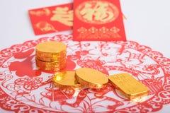 Año Nuevo chino, monedas de oro Fotografía de archivo