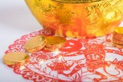 Año Nuevo chino, monedas de oro Fotografía de archivo libre de regalías