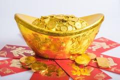 Año Nuevo chino, monedas de oro Imagen de archivo