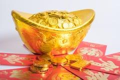 Año Nuevo chino, monedas de oro Imagenes de archivo
