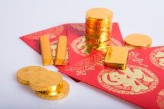 Año Nuevo chino, monedas de oro Fotos de archivo