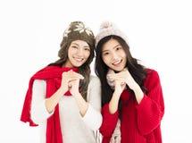 Año Nuevo chino mujer joven con gesto de la enhorabuena Imagen de archivo