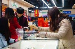 Año Nuevo chino que se acerca, el paisaje del interior de la tienda Fotografía de archivo