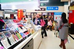 Año Nuevo chino que se acerca, el paisaje del interior de la tienda Imágenes de archivo libres de regalías