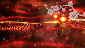 Año Nuevo chino también conocido como el fondo digital de las partículas del festival de primavera con el ornamento chino y decor metrajes