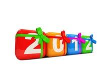 Año Nuevo colorido 2012 con el arqueamiento en el backgroun blanco Fotografía de archivo libre de regalías