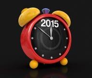 Año Nuevo 2015 con el despertador (trayectoria de recortes incluida) Fotografía de archivo libre de regalías