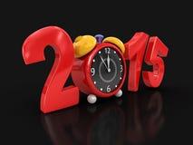 Año Nuevo 2015 con el despertador (trayectoria de recortes incluida) Foto de archivo libre de regalías