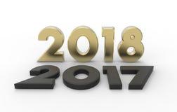 Año Nuevo 2018 con el viejo ejemplo 2017 3d fotos de archivo