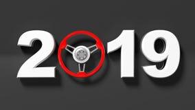 Año Nuevo 2019 con el volante rojo del ` s del coche en fondo negro ilustración 3D Foto de archivo libre de regalías