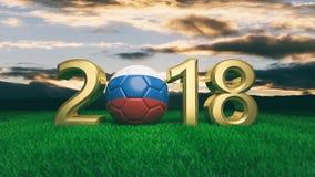 Año Nuevo 2018 con la bola del fútbol del fútbol de la bandera de Rusia en hierba, fondo del cielo azul ilustración 3D Fotos de archivo libres de regalías