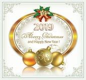 Año Nuevo con la fecha 2019 en el óvalo de oro con los copos de nieve stock de ilustración