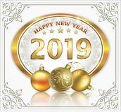 Año Nuevo con la fecha 2019 en el óvalo de oro con la tarjeta snowflakesGreeting stock de ilustración