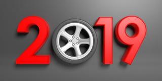 Año Nuevo 2019 con la rueda del ` s del coche aislada en fondo gris ilustración 3D Imagen de archivo