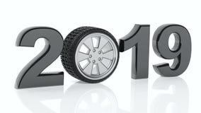 Año Nuevo 2019 con la rueda del ` s del coche en el fondo blanco ilustración 3D Imagenes de archivo