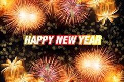 Año Nuevo con los fuegos artificiales coloridos Foto de archivo libre de regalías