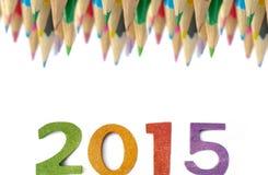 Año Nuevo con los lápices del color Foto de archivo libre de regalías