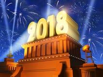Año Nuevo concepto de 2018 días de fiesta ilustración del vector