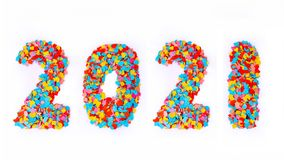Año Nuevo - confeti numera 2021 - aislado en el fondo blanco Fotos de archivo