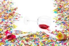 Año Nuevo, copa volcada Foto de archivo libre de regalías