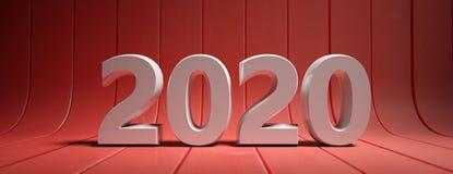 Año Nuevo 2020, dígitos blancos, aislados en fondo curvado de madera rojo ilustración 3D ilustración del vector