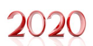 Año Nuevo 2020, dígitos rojos, aislados en el fondo blanco ilustración 3D libre illustration