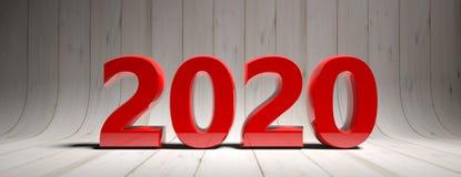 Año Nuevo 2020, dígitos rojos, aislados en el fondo curvado de madera blanco ilustración 3D stock de ilustración