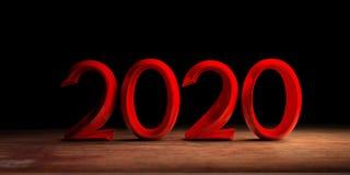 Año Nuevo 2020, dígitos rojos, en el escritorio de madera, fondo negro ilustración 3D stock de ilustración