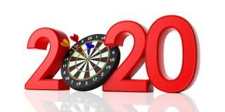 Año Nuevo 2020, dardos en la diana aislada en el fondo blanco libre illustration