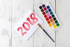 Año Nuevo de dibujo 2018 con el cepillo de pintura Fotos de archivo libres de regalías