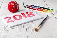 Año Nuevo de dibujo 2018 con el cepillo de pintura Imagen de archivo