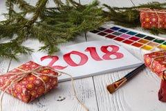 Año Nuevo de dibujo 2018 con el cepillo de pintura Fotos de archivo