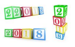 Año Nuevo de la caja 2018 del alfabeto en un ejemplo blanco del fondo 3D Foto de archivo libre de regalías