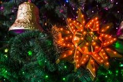 Año Nuevo de la campana de la Navidad Foto de archivo
