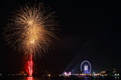 Año Nuevo de la celebración de la noche de la ciudad Imagen de archivo