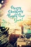 Año Nuevo de la composición de la caja de la Navidad del vintage Foto de archivo