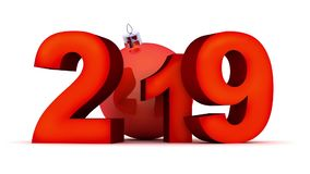 Año Nuevo 2019 de la muestra en el fondo blanco y el canal alfa almacen de metraje de vídeo