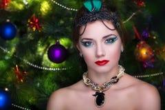 Año Nuevo de la mujer retra Imagen de archivo libre de regalías