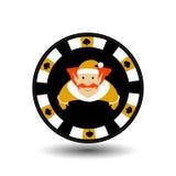 Año Nuevo de la Navidad de la ficha de póker Ejemplo del icono EPS 10 en un fondo blanco a separarse fácilmente Uso para los siti Imagen de archivo libre de regalías