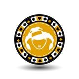 Año Nuevo de la Navidad de la ficha de póker Ejemplo del icono EPS 10 en un fondo blanco a separarse fácilmente Uso para los siti Imágenes de archivo libres de regalías