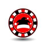 Año Nuevo de la Navidad de la ficha de póker Ejemplo del icono EPS 10 en un fondo blanco a separarse fácilmente Uso para los siti Foto de archivo