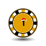 Año Nuevo de la Navidad de la ficha de póker Ejemplo del icono EPS 10 en un fondo blanco a separarse fácilmente Uso para los siti Imagen de archivo