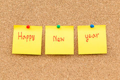Año Nuevo de la nota en blanco pegajosa Fotos de archivo libres de regalías