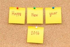 Año Nuevo 2016 de la nota en blanco pegajosa Imagenes de archivo