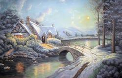 Año Nuevo de la pintura al óleo original Fotos de archivo libres de regalías