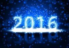 Año Nuevo 2016 de la tarjeta con los números de neón Fotos de archivo