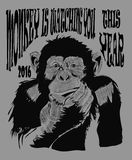 Año Nuevo de la tarjeta del cartel del diseño del dibujo del vector del mono Imagen de archivo libre de regalías