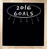 Año Nuevo 2016 de las resoluciones de la pizarra de las metas aislado Foto de archivo