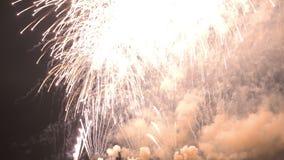 Año Nuevo 2018 de los fuegos artificiales almacen de metraje de vídeo